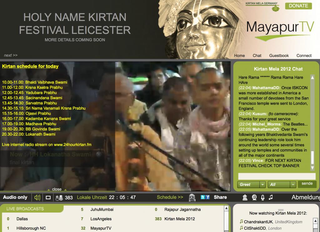 Mayapur TV referring to 24 Hour Kirtan Mandali Radio