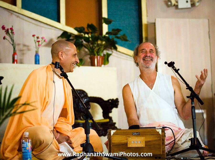 Radhanath Swami with Shyamdas at Bhaktifest 2012, USA