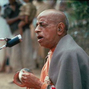 Srila Prabhupada chanting and playing karatalas
