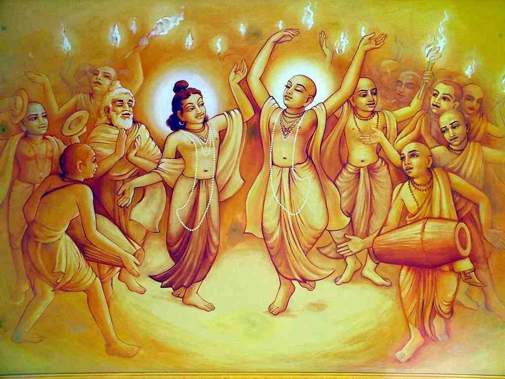 Caitanya Mahaprabhu dancing in Kirtan