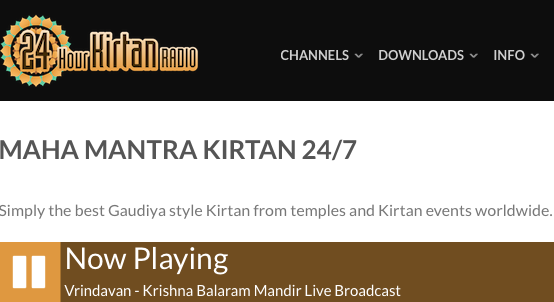 Screen Shot from 24 Hour Kirtan Radio Website during Live Broadcast from Krishna Balaram Mandir